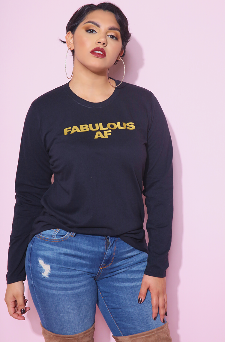 "Rebdolls ""Fabulous AF"" Long Sleeve Crew Neck T-Shirt"