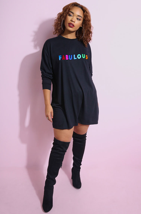 "Rebdolls ""Fabulous"" Long Sleeve Oversized T-Shirt Dress"