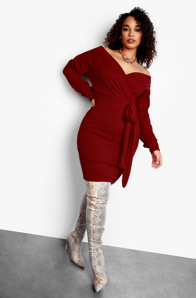 "Rebdolls ""High Maintenance"" Over The Shoulder Tie Front Mini Dress - Burgundy"
