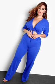 Royal Blue Cut Out & Tie Front Jumpsuit Plus Size