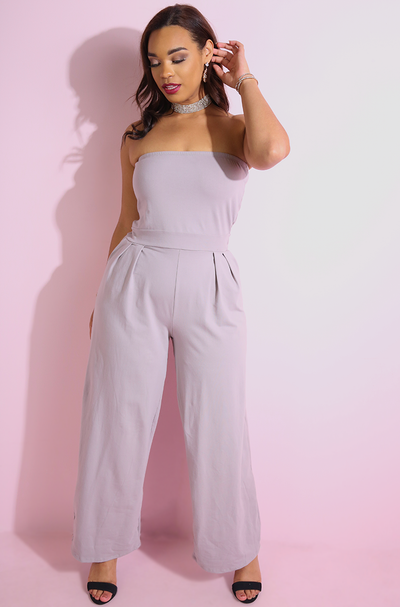 Pale Purple Strapless Wide Leg Jumpsuit plus sizes