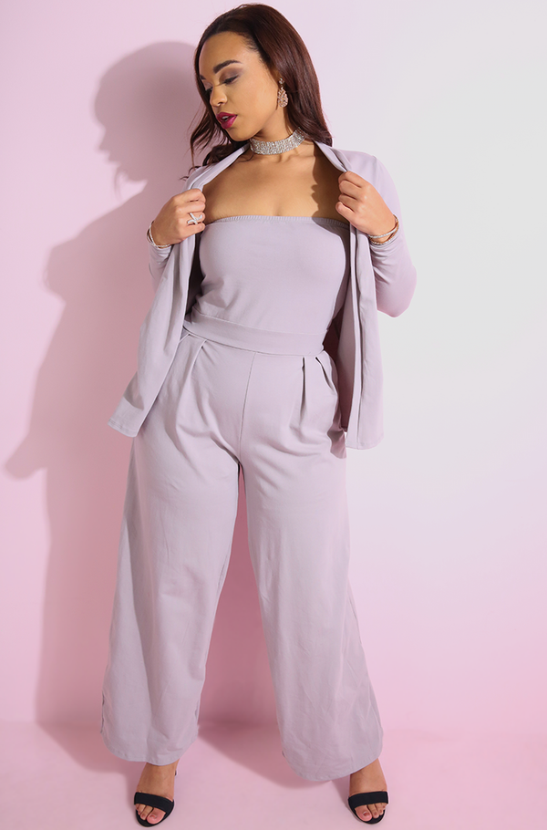 Pale Purple Long Sleeve Cardigan plus sizes