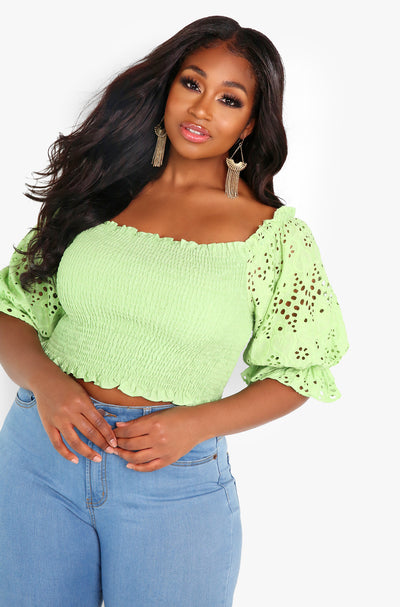 Sage Puff Sleeve Smocked Top Plus Size