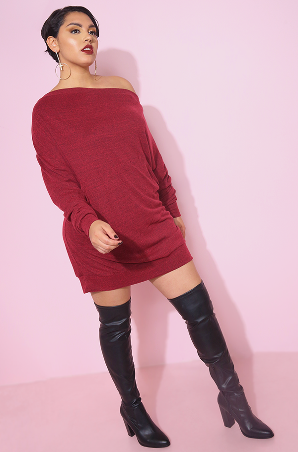burgundy Over The Shoulder Mini T-Shirt Dress plus sizes
