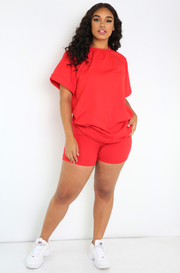 Red Oversized Top & Biker Shorts Set Plus Sizes