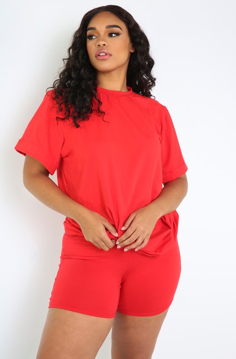 Red Oversized Top & Bermuda Set Plus Sizes