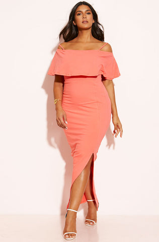 "Rebdolls ""Orange Burst"" Cut-Out Scuba Midi Dress"