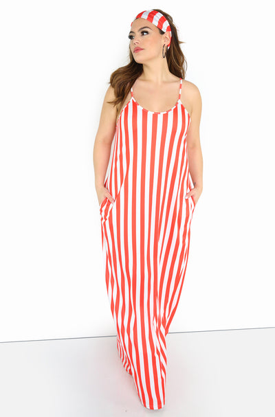 Red Relaxed Fit Striped Maxi Dress Plus Sizes