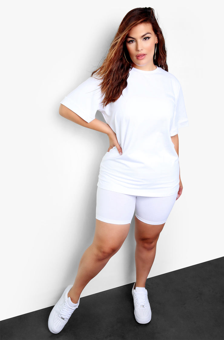 White Oversized Top & Biker Shorts Set Plus Size