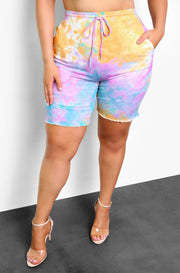 Purple Tie Dye Bermuda Biker Shorts Plus Sizes