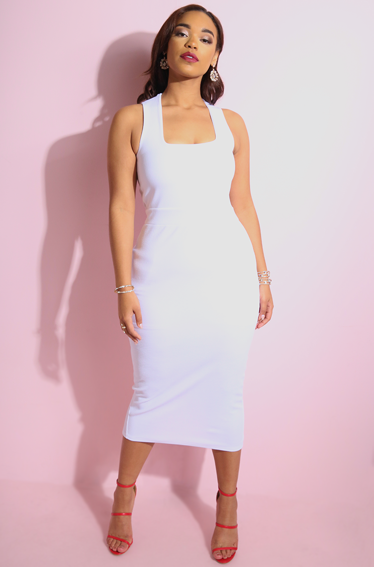 White Squared Neckline Ponte Bodycon Midi Dress plus sizes