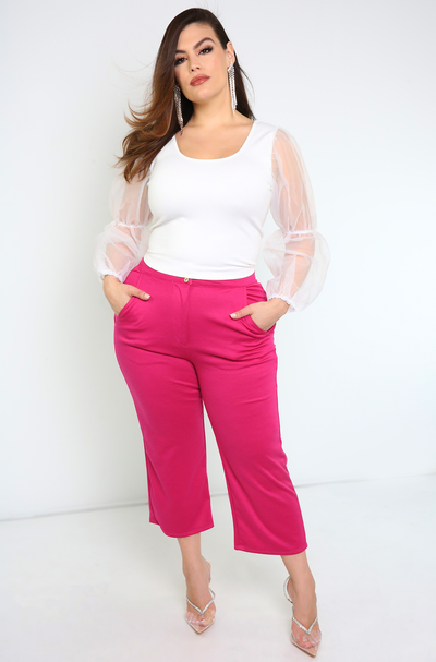 Fuchsia Cropped Pants With Pockets Plus Sizes