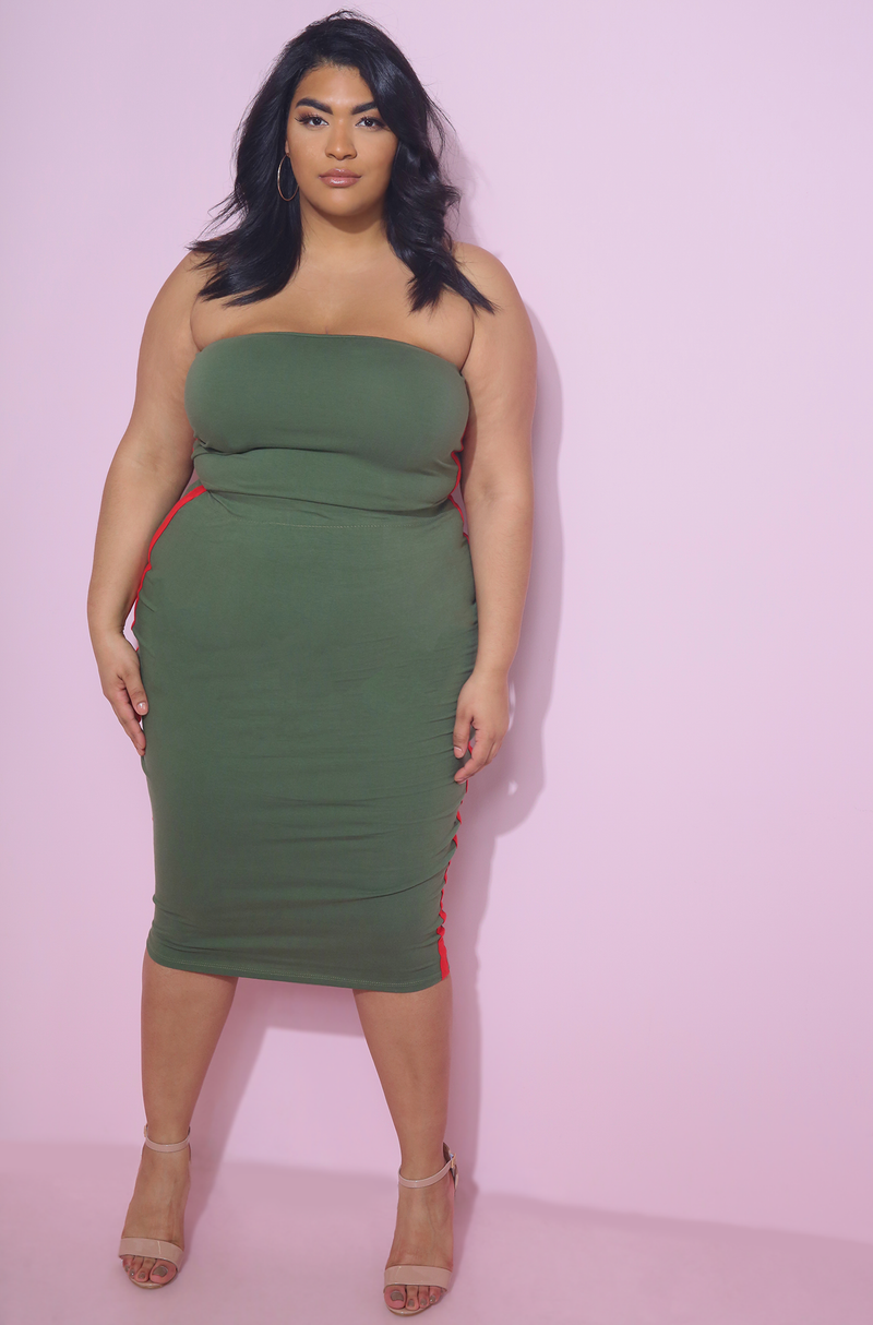 Olive Striped Bodycon Midi Skirt Plus Sizes