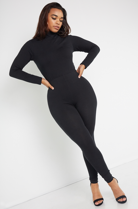 Black Turtleneck Catsuit Plus Sizes