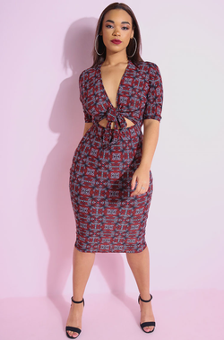 "Rebdolls ""Fate"" Front Tie Bodycon Midi Dress"