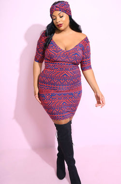 Blue Aztec print over The Shoulder Mini Dress With Turban sizes