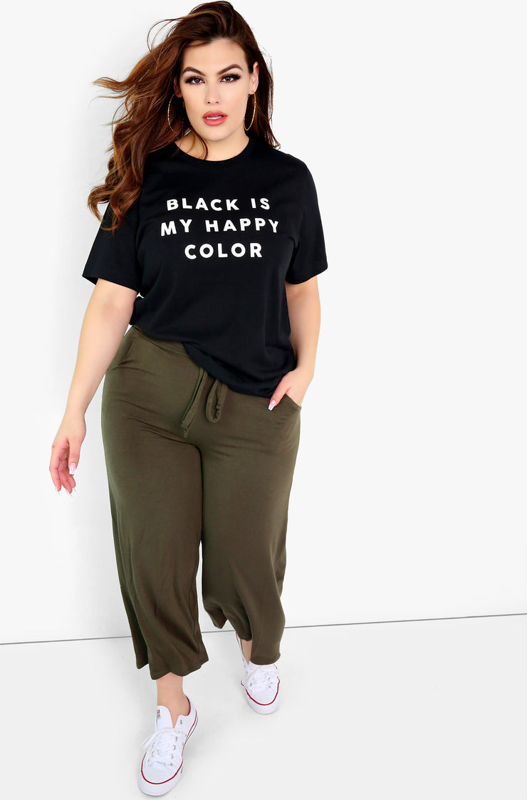 Black Graphic Crew Neck T-Shirt Plus Sizes