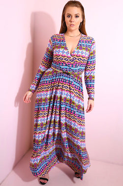 Blue Long sleeve printed cross over maxi dress plus sizes