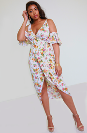 White Floral Faux Wrap Maxi Dress Plus Sizes