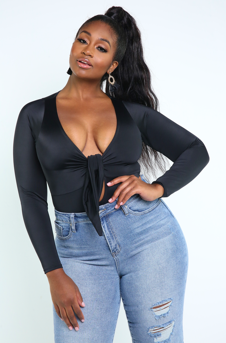 Black Front Tie Bodysuit Plus Size