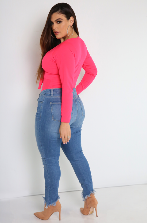 Neon Pink Front Tie Bodysuit Plus Sizes