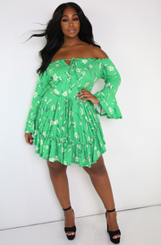 Green Over The Shoulder Skater Mini Dress Plus Sizes