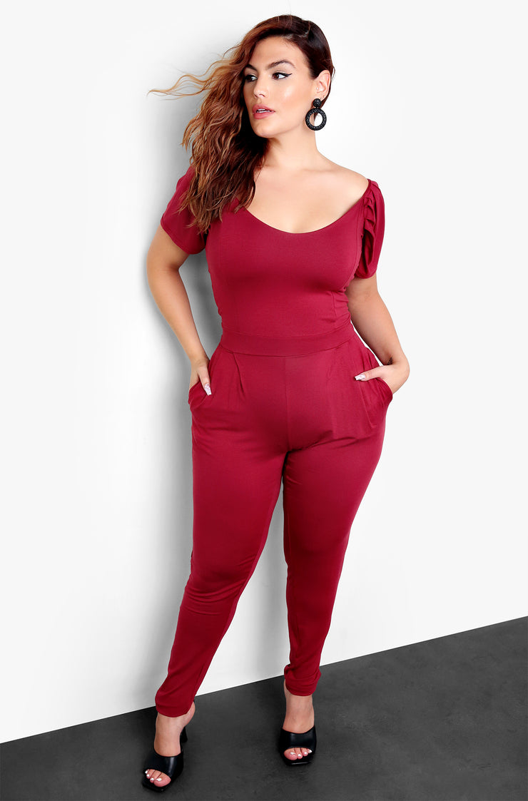 Burgundy Puff Sleeve Bodycon Jumpsuit with Pockets Plus Sizes