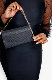 Black Crossbody Bag with Gold Chain Strap