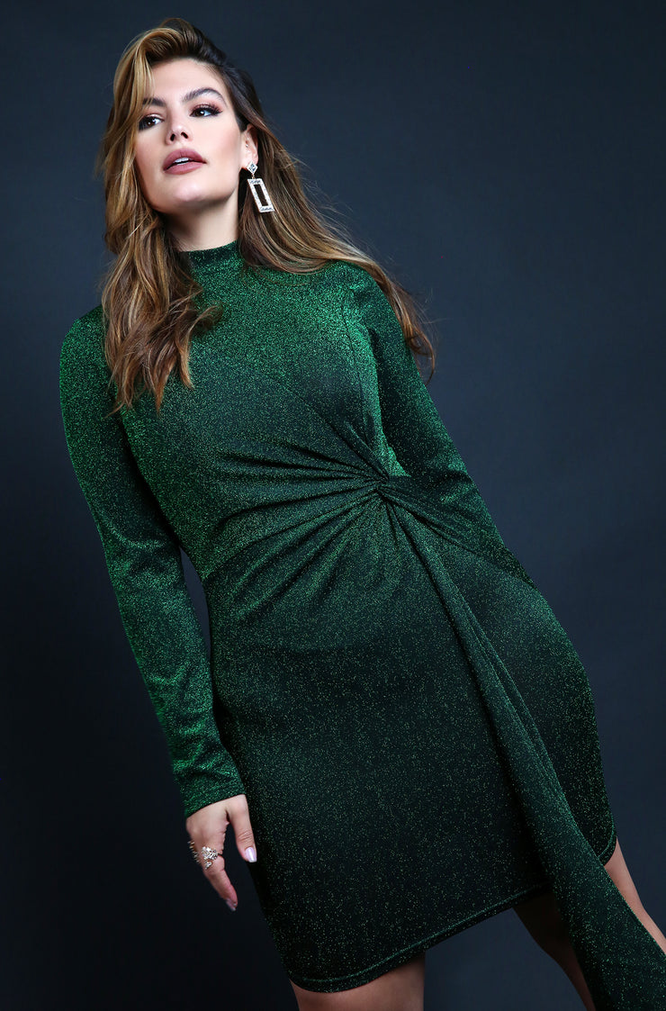 Emerald Green Plus Size Sparkly Bodycon Mini Dress with Side Tie