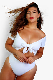 White Over The Shoulder Swim Top Plus Sizes