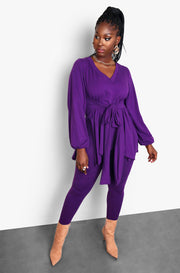 Purple Double Slit  Tie Front Top and High Waisted Leggings Set Plus Sizes