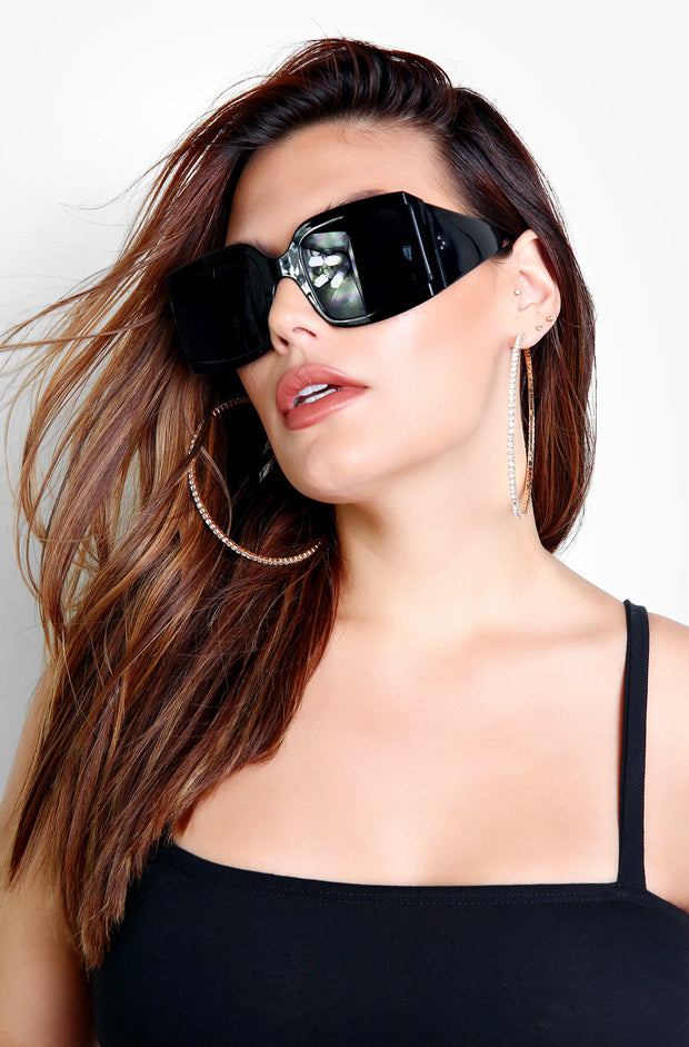 Black Bulk Frame Square Sunglasses