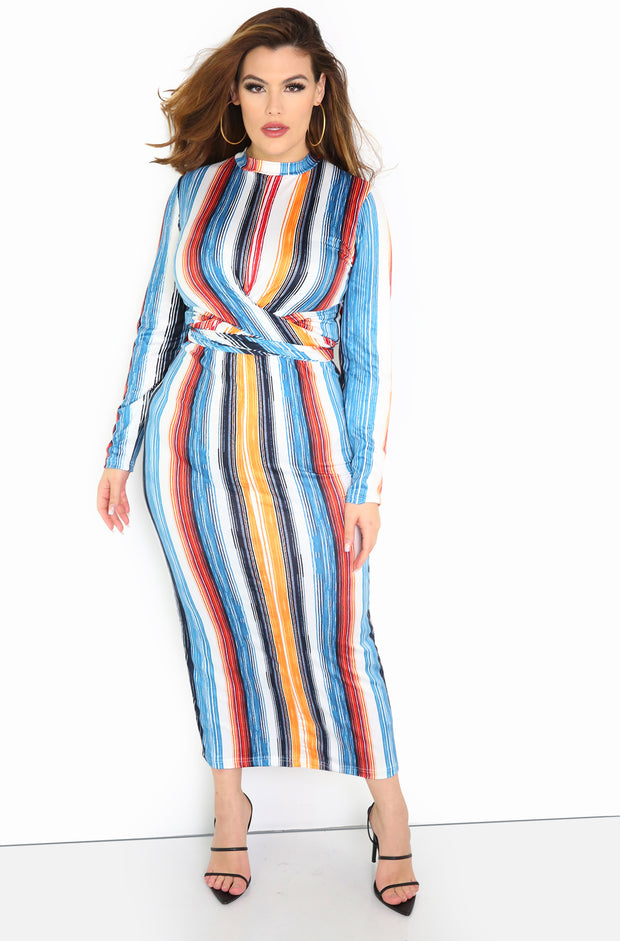 Blue Striped Bodycon Maxi Dress Plus Size