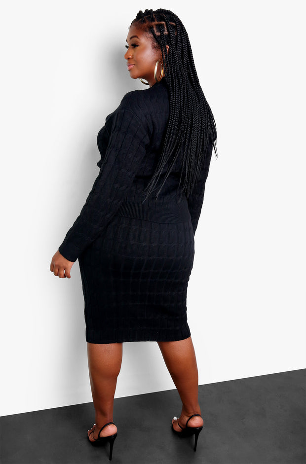 Black Knit Crew Neck Sweater Plus Sizes