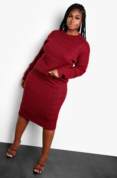 Burgundy Knit Midi Skirt Plus Sizes