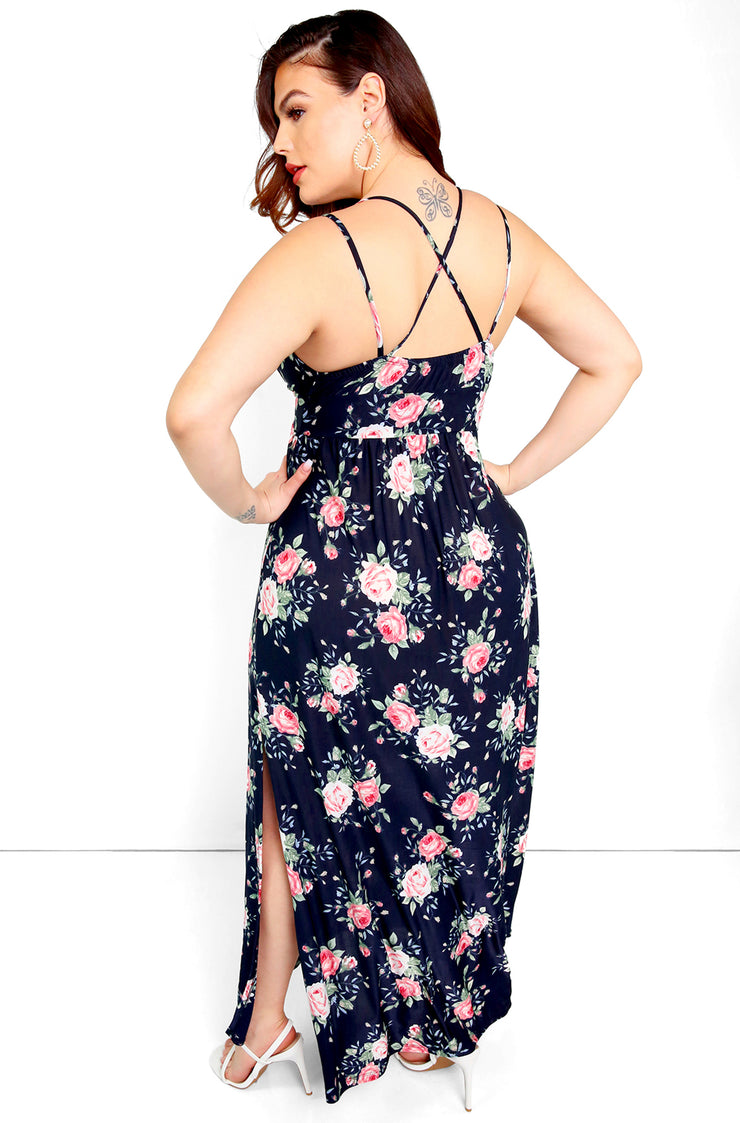 Navy Blue Floral V-Neck Skater Maxi Dress Plus Sizes