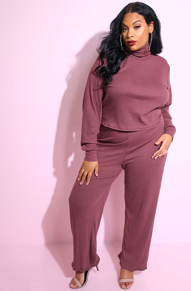 Grape Color Ribbed Oversized Turtleneck Crop Top plus sizes