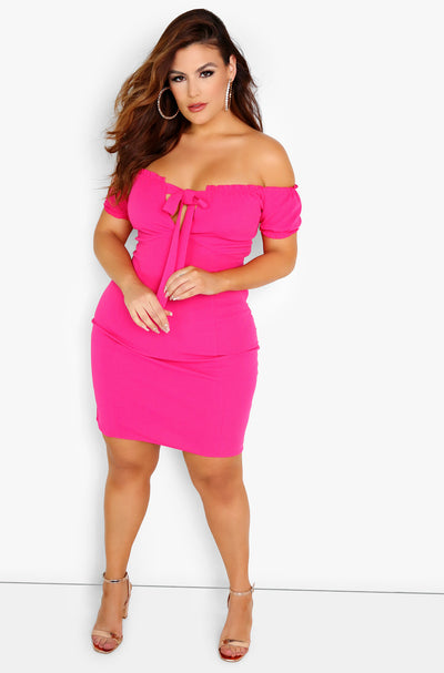 Fuchsia Peasant Style Bodycon Mini Dress Plus Sizes