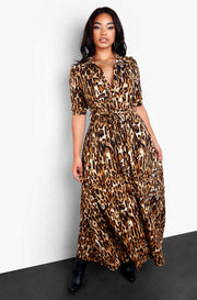 Leopard Bottom Down Maxi Dress Plus Size