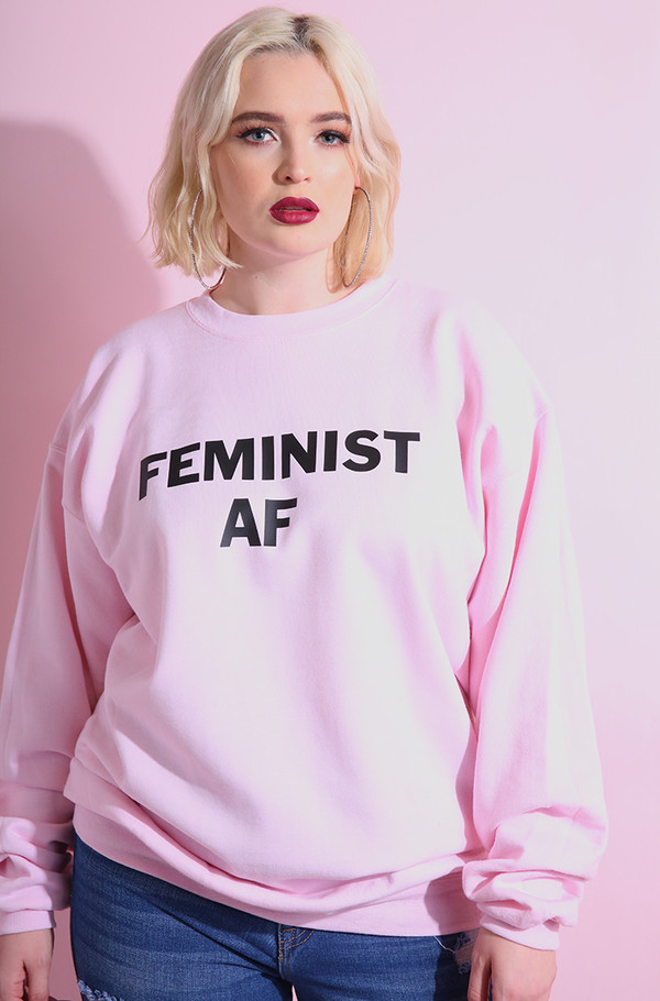 Feminist AF Baby Pink Sweatshirt plus sizes