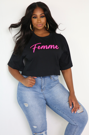 Black Oversized Graphic Cropped T-Shirt Plus Size