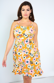 Mustard Halter A-Line Ruffled Hem Mini Dress Plus Sizes