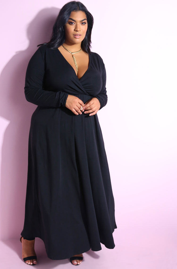 Black Long Sleeve Plunge Neckline Maxi Dress Plus Sizes