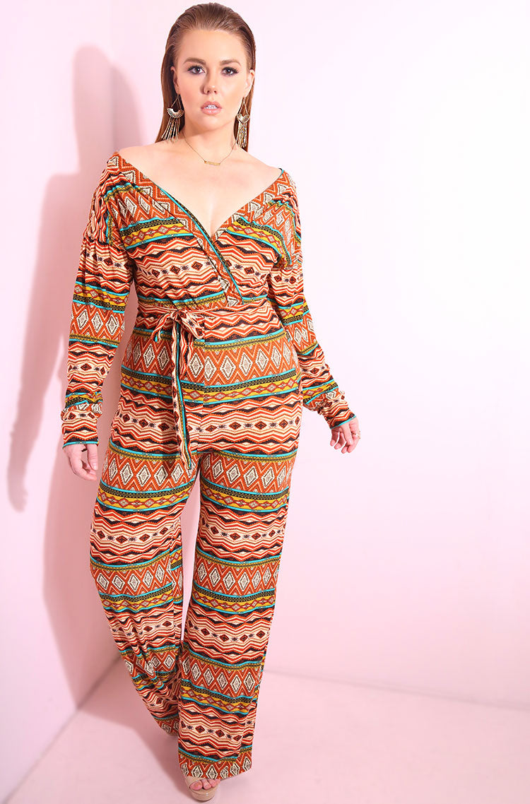 Orange Aztec print, over the shoulder, oversized sleeves jumpsuit with wide leg pants plus sizes