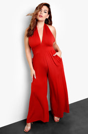 Brick Plus Size Halter Neck Jumpsuit with Pocket