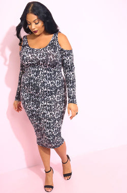 Black Animal Print Cold Shoulder Bodycon Midi Dress plus sizes