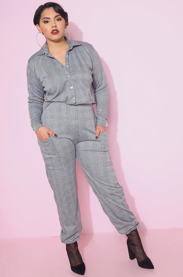 Gray Plaid Jogger Pants With Pockets plus sizes