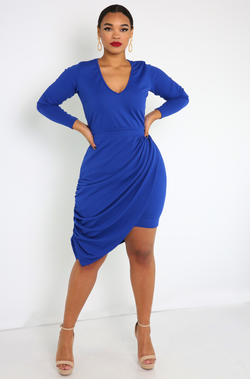 Royal Blue Draped Mini Dress Plus Sizes