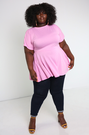 Pink Crew Neck Ruffled Top Plus Sizes