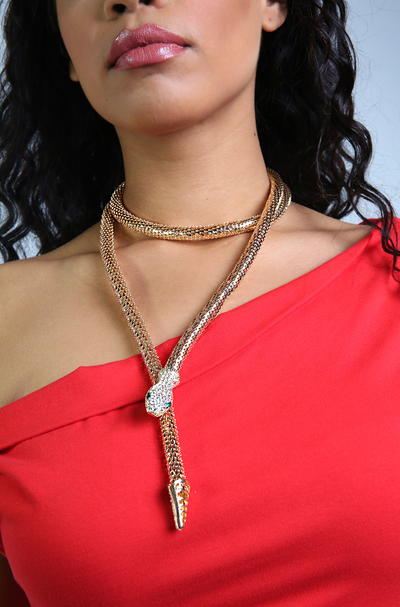 Gold Wrap Around Snake Head Necklace